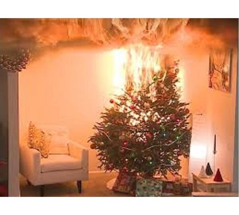 Christmas tree catching fire