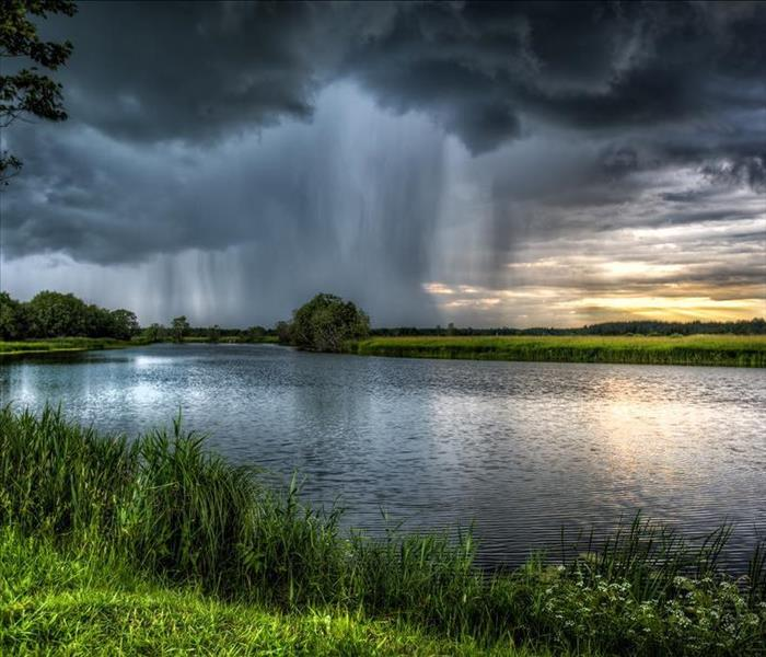 rainstorm over lake