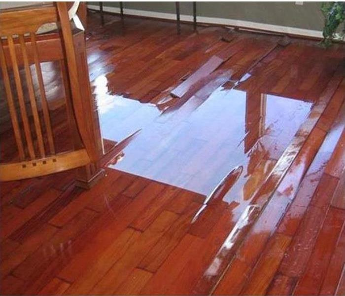 Water pooling on top of buckling hardwood floors